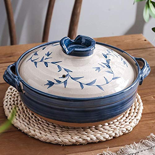 LSR Printed Japanese Donabe Hot Pot,Round Handmade Ceramic Casserole with Lid,Clay Pot,Insulated Casserole,Ceramic Stockpot,Slow Stew Pot,Nonstick Saucepan Leaf 1.6l (Color : Leaf, Size : 1.6L)