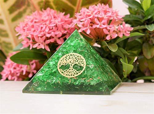 Crocon Green Onyx Stone Pyramid | Reiki Crystal Healing | Positive Generator | Chakra Stone Balancing | Spiritual | Enhance Decor Size: 2.5-3 Inch