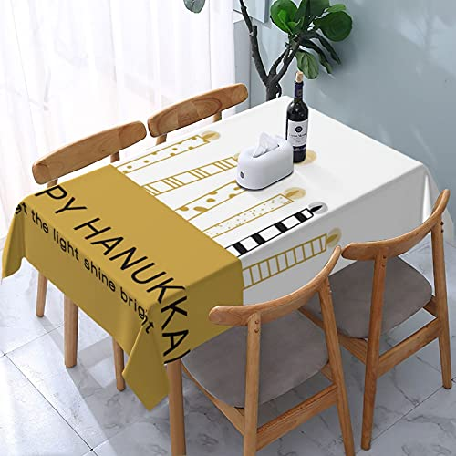 Hanukkah Greeting Card Jewish Holiday Tablecloth, Oil-Proof/Waterproof/Wrinkle Free/Stain Resistant Polyester Tablecloth for Kitchen Room, Rectangle Tabletop Decoration Washable Tablecloth