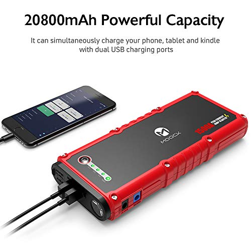 MOOCK 1500A Peak 20800mAh Car Jump Starter (up to 8.0L Gas, 6.0L Diesel Engine) 12V Auto Battery Booster, Portable Power Pack Phone Charger with Smart Charging Port, Built-in LED Light