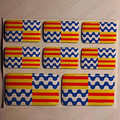 Pegatinas Badalona España Resina, 8 x Pegatinas Relieve 3D Bandera