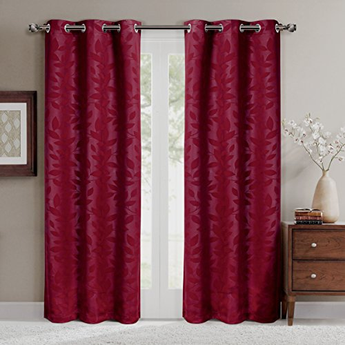 Virginia Burgundy Grommet Blackout Weave Embossed Window Curtains Drapes, Pair/Set of 2 Panels, 37x63 inches Each, by Royal Hotel