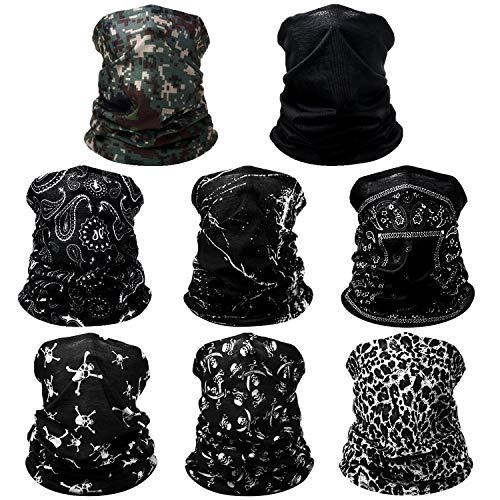 8 Piezas Bandana de Cara Braga de Cuello Bufanda de Tubo Diadema de Protección de UV Polvo Viento para Mujeres Hombres