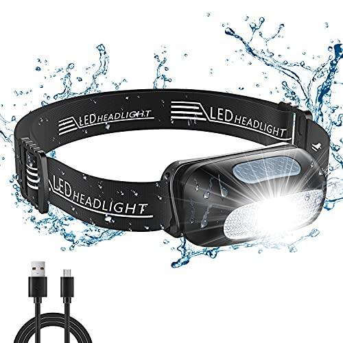 Cocoda Linterna Frontal, Frontal LED USB Recargables con 5 Modos de Luz, 200 Lúmenes, Impermeable IPX4 para Niños y Adultos, Ajustable Linterna Cabeza con Luz Roja para Correr, Acampar, Senderismo