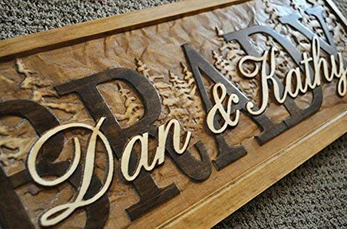 3d Personalized Family Name Signs PINE TREE CARVED Custom Wood Sign Last name Wedding Gift rustic Established house warming personalized sign 5 year Pine Trees
