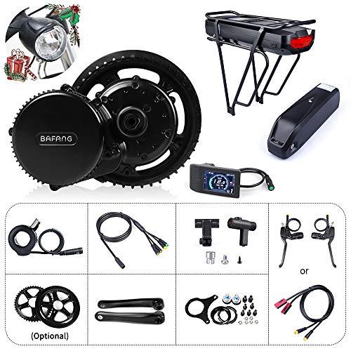 Bafang Bicicleta eléctrica BBS01B 350W 48V Kit de conversión de Bicicleta de montaña con Motor Central Bicicleta de EBike con batería de 48V 11.6/17.5Ah Hailong/Portaequipajes Batería