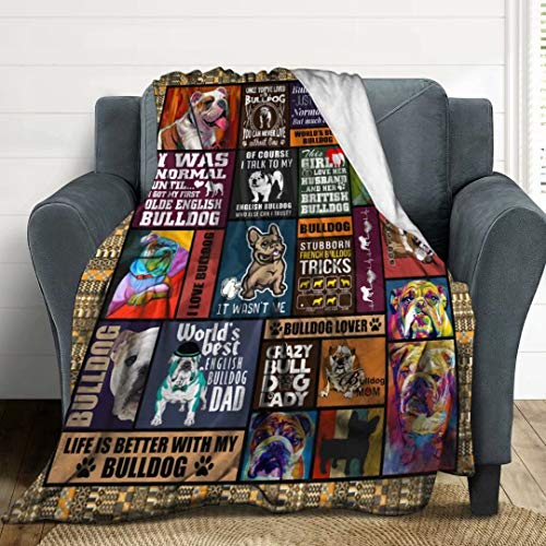 LORBUK Bulldog Plush Fleece Throw Blanket,Ultra-Soft Cozy Warm Blankets Warm Bed Throws for Couch Sofa and Chair,50'X60'for Teens