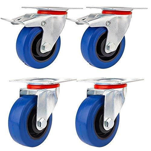 Generic * ster Wh Ruedas giratorias de goma con ruedas giratorias 4 ruedas de 75 mm, 4 ruedas giratorias de 75 mm, ruedas giratorias de 75 mm