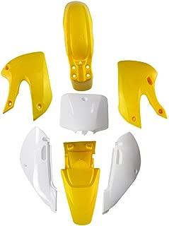 Fender Kit Fairing for Pit Bike Dirtbike KLX/DRZ 110 KLX110 KX65 Plastic Fender (Yellow/White)