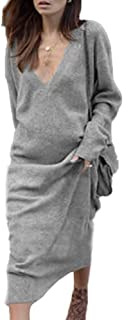UROSA Women Fashion V-Neck Knit Long Sleeve Dress Midi Dress 2019