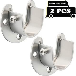Alise 2 Pcs Shower Closet Rod Set Holder Flange Socket Bracket Supports 1-Inch Dia,Stainless Steel Brushed Nickel FL8001LS-2P
