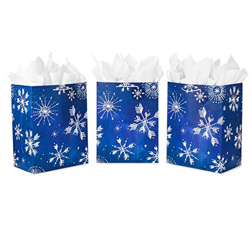 Hallmark 17' Extra Large Holiday Gift Bags with Tissue Paper (3 Gift Bags: Starry Snowflakes on Navy Blue) for Christmas, Hanukkah, Weddings, Birthdays