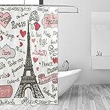 Mr. XZY Eiffel Torre Paris Cortina de Ducha de poliéster Impermeable patrón de baño Personalizado diseño para baño Cortina de Ducha con 12 Ganchos Set Decor 2010252