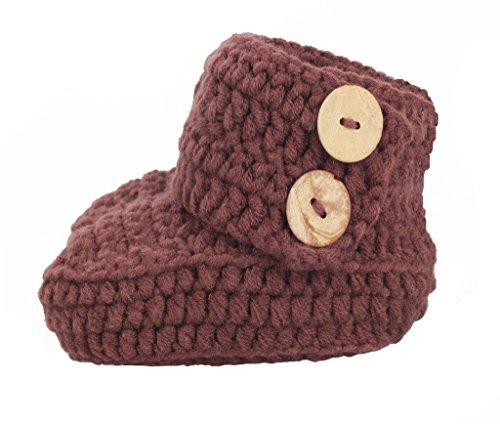 zefen Knit Crochet Baby Booties Newborn Socks Handmade Shoes Deep Small Brown