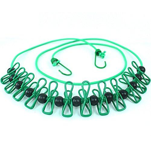 longsheng Tendedero elástico, hebilla de posicionamiento, tendedero portátil, flexible, cuerda de lavado de viaje, cuerda resistente al viento con 12 pinzas para la ropa para interiores y exteriores