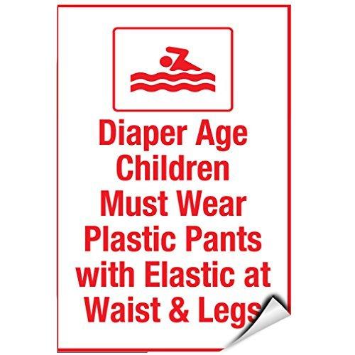 Luier leeftijd Kinderen moeten dragen Plastic Broek Met Elastische Fit Vinyl Stickers Teken Zelfklevende Labels Sticker Sticker Tekenen Grappige 8x12 In