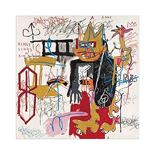 《Retrato》 Jean-Michel Basquiat Cuadro en Lienzo| Lienzos Decorativos | Cuadros Decoración Dormitorios | Cuadros Decoración Salón (55x55cm (22x22inch), Sin marco)