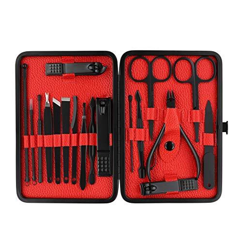 Healifty Manicure Pedicure Kit 18PCS - Juego de Cortaúñas, Herramientas de Manicura, Aseo Profesional, Herramientas para el Cuidado del Cortador de Uñas