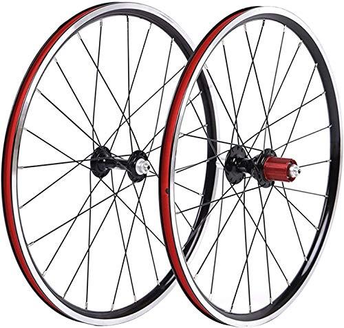 YZU BMX Bike Wheelset 20 'Doppia Parete Lega 451 Cerchio 24h Nero 8-10 Velocità QR Cassette Hub Acciaio Raggio Anteriore E Posteriore Ruota