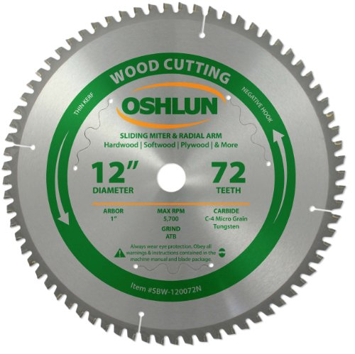Oshlun SBW-120072N 12-Inch 72 Tooth Negative Hook Thin Kerf Finishing ATB Saw Blade with 1-Inch Arbor for Sliding Miter and Radial Arm Saws