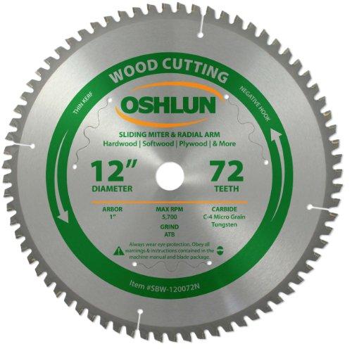 Oshlun SBW-120072N 12-Inch 72 Tooth Negative Hook Thin Kerf Finishing...