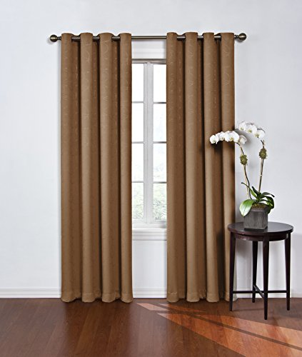 ECLIPSE 52' x 84' Window Treatment Thermal Insulated Single Panel Grommet Top Darkening Curtains for Living Room, Latte