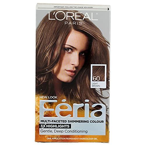 L'Oreal Feria Multi-Faceted Shimmering Color, 60 Light Brown, 1 ea (Pack of 3)