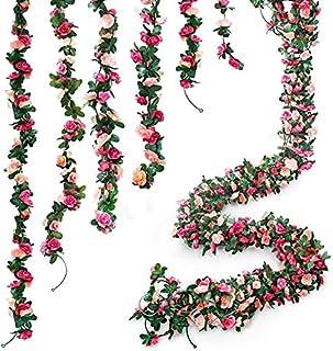 6pcs 49 FT Rose Vine Flowers Plants - BSTC Artificial Flower Fake Flowers Rose Vine Ivy Garlands Hanging for Wedding Party...
