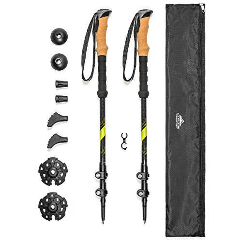 Cascade Mountain Tech Trekking Poles - Carbon Fiber Strong Adjustable Hiking or Walking Sticks - Lightweight Quick Adjust Locks - 1 Set (2 Poles), Green