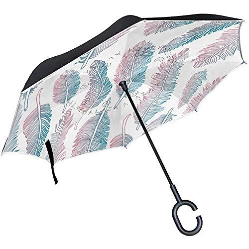 ETGeed Colorido patrón de Plumas Tribales invertido Paraguas invertido Paraguas invertido