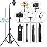 Cell Phone Tripod 27' to 80' Adjustable Phone Video Stand for iPhone & Camera Video Recording Vlogging/Streaming/Photography Rotatable Live Video Stand Compatible with and Most Mobile Phones