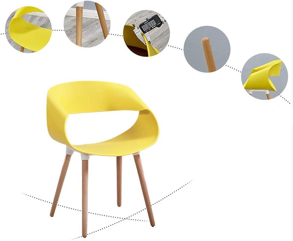 Moderne maison Empilement Chaise De Salle À Manger, Pieds En Bois Massif Siège En PP Simple Mode 40cm pour 70cm Compteur 1/2 (Color : White) Yellow