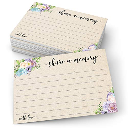 """321Done Share a Memory Card (50 Cards) 4"""" x 6"""" - for Celebration of Life Birthday Anniversary Memorial Funeral Graduation Bridal Shower Game - Made in USA - Tan Kraft Watercolor Floral Pastel"""