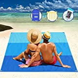 AWAVO Sand Free Beach Blanket, Extra Large 79' x 83' Waterproof Sand Free Picnic Mat, Quick Drying Ripstop Nylon Compact Outdoor Beach Mat for Travel, Camping, Hiking and Music Festivals