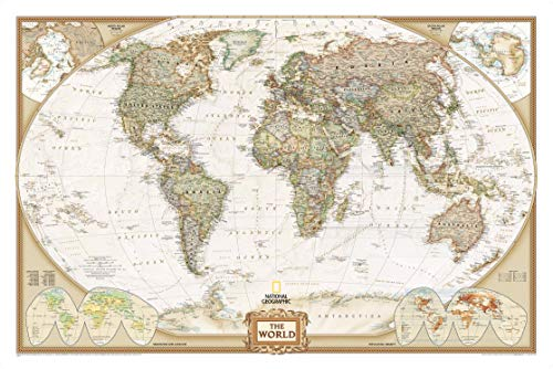 National Geographic World Executive Wall Map - Antique Style - 46 x 30.5 inches - Art Quality Print