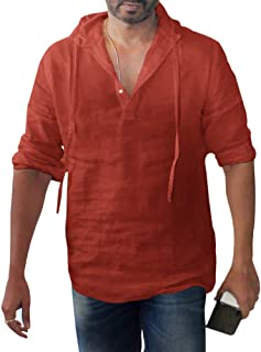 Enjoybuy Mens Long Sleeve Pullover Hoodie Linen Henley Shirts Casual Lightweight Long Sleeve T Shirts Top