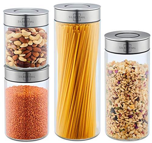 SILBERTHAL Tarros hermeticos vidrio | Tarros despensa | Botes cocina cristal con tapa acero inoxidable 1700ml, 1300ml, 1000m y 700ml