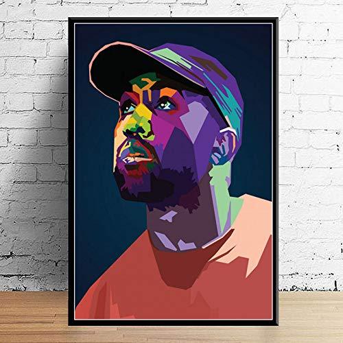 Juice Wrld J Cole Post Malone Mac Miller Travis Scoot Rapper Hip Hop Star Art Decor Calidad Lienzo Decoración para El Hogar Póster Decoración De Pared A7 50X70Cm sin Marcos