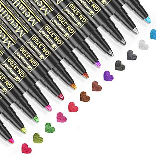 Baozun Metallic Marker Pens, 12 Farben Metallic Stifte für Gästebuch Hochzeit/Geburtstag,...