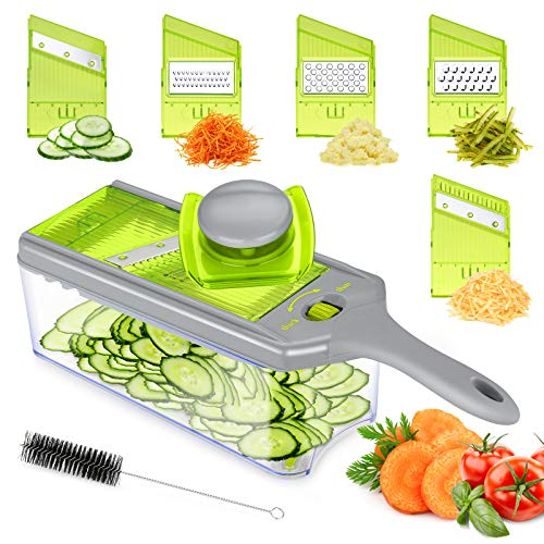 Mandoline Slicer Thickness Adjustable, FITNATE 9 in 1 Vegetable Chopper and Slicer with 5 Replaceable Slicing Blades, Cheese Slicer Salad Chopper with Container, Great for Salad and Cheese