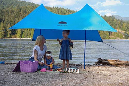 SHADYSAND – Grande tenda da spiaggia familiare anti UV (UPF 50+) fino a 5 persone, compatta, leggera e pratica, capanno da spiaggia, riparo da sole per bambini e adulti
