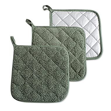 DII 100% Cotton, Machine Washable, Heat Resistant, Everyday Kitchen Basic, Terry Pot Holder, 7 x 7, Set of 3, Artichoke Green, Potholder, 3 Piece