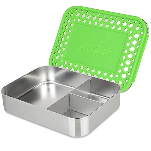 LunchBots Bento Trio Großer Edelstahl Nahrungsmittelbehälter – DREI Abschnitt Design hält EIN Sandwich und Zwei Beilagen – für Kinder oder Erwachsene – Spülmaschinenfest und BPA frei – Grün Gepunktet
