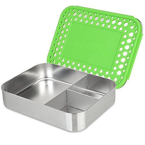 LunchBots Large Trio Stainless Steel Lunch Container -Three Section Design for Sandwich and Two Sides - Metal Bento Lunch Box for Kids or Adults - Eco-Friendly - Stainless Lid - Green Dots