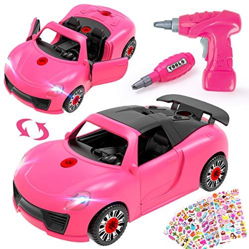 REMOKING Auto Spielzeug, 2 IN 1 Montage Fahrzeuge Spielzeug mit Drill & Aufkleber, Pink Elektrisches Spielfahrzeug Set mit Ton & Licht, STEAM Geschenk für Kinder