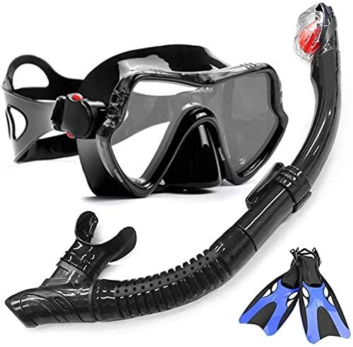 AWJ Diving mask Diving Masks Snorkelling Mask Professional Anti-Fog Scuba Diving Glasses Mask Easy Breath Tube Snorkels Swimming (Color : Black set2, Size : S-M)