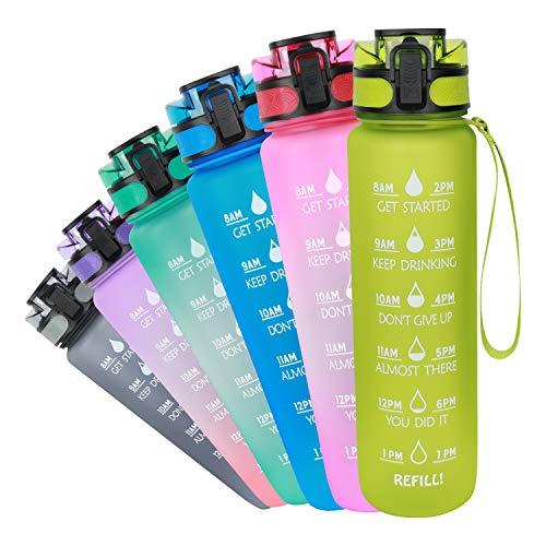 Azebo 32/26/16oz Große Wasserflasche mit Zeitmarkierung und herausnehmbarem Sieb Tritan BPA-frei ungiftig 1000ml/750ml/500ml für Fitness-Sportarten im Freien und im Büro-E321ESH003-Green-1000ML