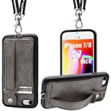TOOVREN iPhone SE2 Case iPhone 7/8 Wallet Case Lanyard Neck Strap iPhone 7/8/SE Protective Case with Kickstand Leather PU Card Holder Adjustable Detachable Necklace for Anti-Lost and Outdoors Grey