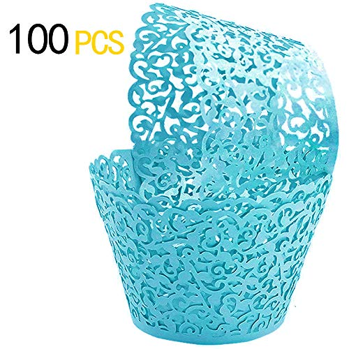 GOLF 100Pcs Cupcake Wrappers | Artistic Bake Cake Paper Filigree Little Vine Lace Laser Cut Liner Baking Cup Wraps Muffin CaseTrays for Wedding Party Birthday Decoration (Blue)