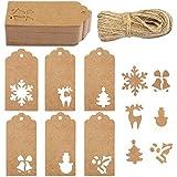Aneco Lot de 60 étiquettes de Noël à suspendre en papier kraft avec ficelle de 15 m pour sapin de Noël, flocon de neige, renne, cloche, bonhomme de neige, décoration de Noël, bricolage, 6 styles